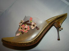 pre-owned authentic PRADA gold/silver SIZE 39 1/2 RAREhand cut&stitched blossoms