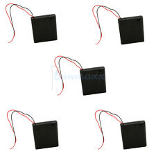 """5-Pk 4 AA/2A Black Cell Battery 6V Clip Holder Box Case Switch ON/OFF+6"""" Leads"""
