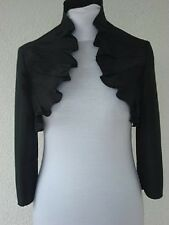 Ladies black evening bolero fashion satin jacket for women size UK 6-20
