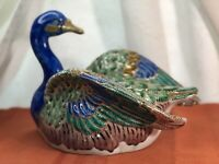 Toyo Co. Large Ceramic Duck - Made in Japan - Hand painted colorful