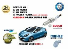 FOR RENAULT WIND 1.2 TCE 2010-> OIL AIR POLLEN 3 FILTER KIT + SPARK PLUGS SET