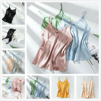 Women Silk Satin Tank Camisole Plain Vest Strappy Sleeveless Blouse Casual Tops