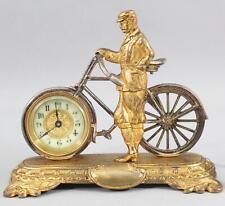 RARE Antique United Clock Co, Bronze 19thC Bicycle & Rider Clock, NR