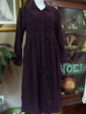 LL BEAN Dress Corduroy Floral Purple  Long Sleeve Button Down Women 14p