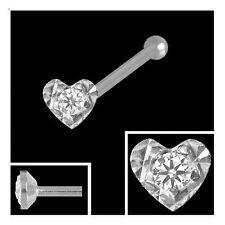 750 Weißgold Nasenpiercing Herz 2,8 mm mit Diamant  Nasenstecker Kugelstift