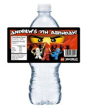 LEGO NINJAGO PERSONALIZED BIRTHDAY PARTY FAVORS ~ WATER BOTTLE LABELS WRAPPERS
