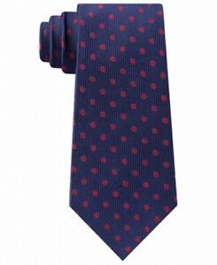 Tommy Hilfiger Men's Neck Tie Blue Mont Classic Polka Dot Slim Silk $69 #452