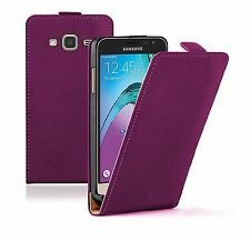 SLIM Flip in Pelle Viola Custodia Cover Per Cellulare Samsung Galaxy j3 2016