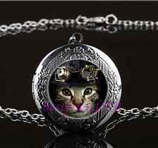 Steampunk Cat Cabochon Glass Gun Black Chain Locket Pendant Necklace