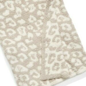 LAST ONE. Barefoot Dreams Throw in Leopard Pattern, Stone & Cream Color. New.