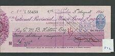 Recuento de leucocitos. - Cheque-CH872-usado -1921 - Prov & Unión Nacional de Inglaterra, al puerta.