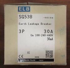FUJI ELECTRIC SG53B 00194 3 Pole 30 Amp ELB Earth Leakage Circuit Breaker