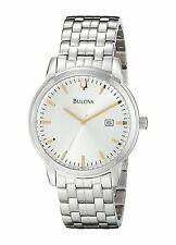 Bulova Dress 98B241 Mens Two Tone Silver White Dial Stainless Steel New Watch