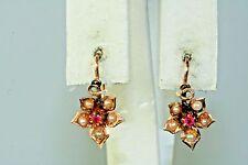 VICTORIAN ANTIQUE 14K LIGHT ROSE GOLD RUBY PEARL FLOWER EARRINGS DORMEUSE