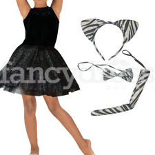 Zebra Black Glitter Tutu Set Costume Kids Ladies Fancy Dress Book Week Animal
