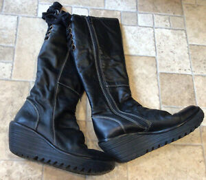 Fly London Black Leather Knee High Boots Size 5 UK / 38 Excellent Condition