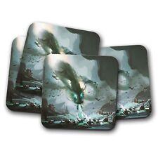 4 Set-impresionante dragón chino Coaster-Monster Battle War Fresco Divertido Regalo #14046
