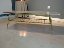 Vintage Formica Wood Effect & Metal Retro Coffee Table with Magazine Rack, 1960s