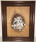 Vintage Raised Tooled Leather Painting Raccoons Ron Wilson Tuscola Illinois