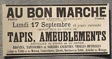Publicité ancienne AU BON MARCHE Soldes Tapis ameublement 17 sept    1900 advert