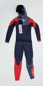 New $245 Billabong 504 Furnace Comp 5/4mm Hooded Wetsuit Grey  Size Youth 10