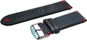 HEKTOR Herren Uhrenarmband dickes Leder blau Naht rot antik Optik Anstoß 20mm