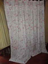 SIMPLY SHABBY CHIC CHERRY BLOSSOM FLORAL PINK GREEN RUFFLED SHOWER CURTAIN 68X72