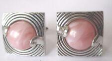 bouton de manchette tibi mixte vintage couleur argent cabochon rose marbré 1571