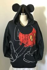 Mickey Mouse Hoodie With Ears Disney Parks Black Large Sweatshirt Pullover