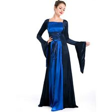 Renaissance Medieval Maid Marian Gown Dress Blue Gold Satin Corset Costume S M