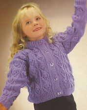 """Girls Aran Cardigan knitting pattern 24-26""""    531"""