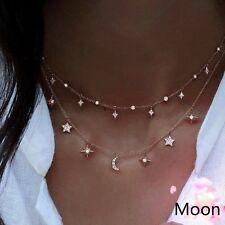 Fashion Women Jewelry Pendant 18k Gold GF Star Choker Chunky Chain Bib Necklace