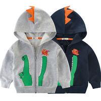 Kids Boys Girls Cartoon Crocodile Hoodie Sweatshirt Zipper Jacket Coat Outerwear