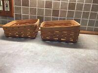 """2 Longaberger Wedge Baskets 2000 Slant Angled 7"""" X 7 1/2"""" And 8"""" X 8"""""""
