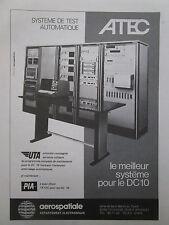 11/1974 PUB AEROSPATIALE ELECTRONIQUE ATEC DC-10 PIA UTA AIRLINES FRENCH AD