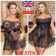 UK Womens Sexy Lace Floral Dress Babydoll Lingerie Nightwear Sleepwear 3XL-5XL