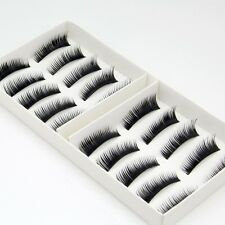 New 10 Pairs Natural False Eyelashes Fake Makeup Eye Lashes Lash + Glue - EU -