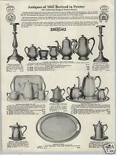 1930 PAPER AD 1847 Revival In Pewter Flagg & Homan Candlestick Tea Pot Set