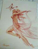 RARE Vintage Original Dancing Nude w/ Butterfly Watercolor by N Basarab Ukraine