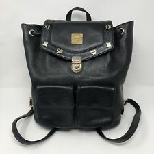 RARE Vintage MCM 100% Authentic Black Leather Backpack Bag w/ Gold Pins Germany