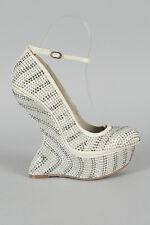 White Studded Rhinestone Jewel Ankle Strap Heel Less Curved High Wedge Pump 7.5