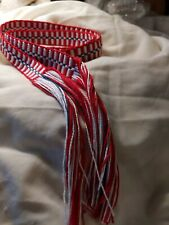 "Item92720204 Powder horn strap belt red, white & blue cotton 46.5"" x 1"""