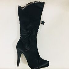 """Amputee or Replacement Ellie Gothika 4"""" Satin Knee High Boot Right Only Size 6"""