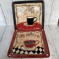 """Lot of 2 Certified International Espresso Hot Coffee Cafe Latte Square Plates 8"""""""