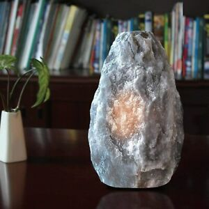 Grey Himalayan Rock Crystal Salt Lamp Natural Healing Ionizing UK Plug & Bulb