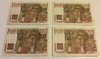 Lot Of 4 C France Banknotes. 100 Francs. Dated 1953. Collectible Set.