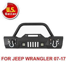 Rock Crawler Front Bumper W/LED Lights+Winch Plate Fits 07-17 Jeep Wrangler JK X