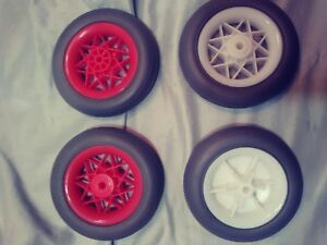"""Pair REPLACEMENT 4 5/8: x 1"""" Rubber Wheels CART/STROLLER 1/4"""" Axis Wht or Red"""