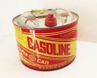 Vtg Stancan super can 2 1/2 gal. gallon round pancake metal gas gasoline can