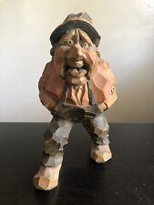 Vintage Carved SIGNED MLH Wooden Figure Folk Art Man Farmer Statue Sculpture